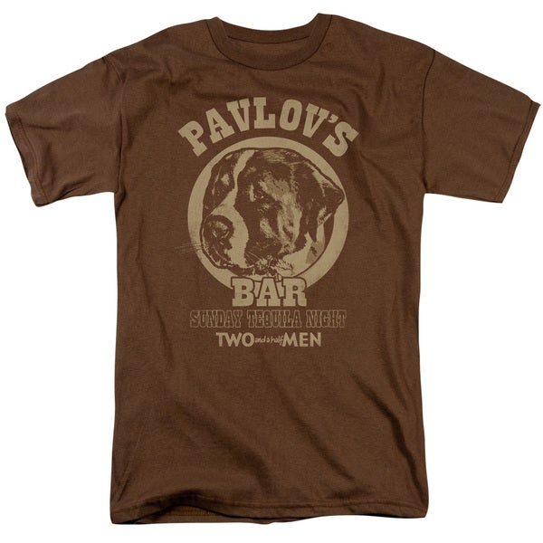 Two and A Half Men/Pavlov's Short Sleeve Adult T-Shirt 18/1 in Coffee