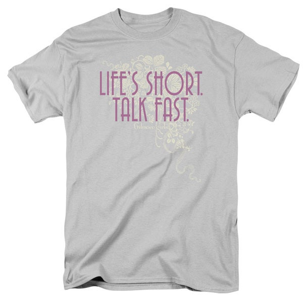 Gilmore Girls/Lifes Short Short Sleeve Adult T-Shirt 18/1 in Silver