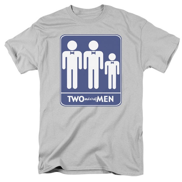 Two and A Half Men/Men Symbols Short Sleeve Adult T-Shirt 18/1 in Silver