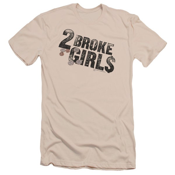 2 Broke Girls/Pocket Change Short Sleeve Adult T-Shirt 30/1 in Cream