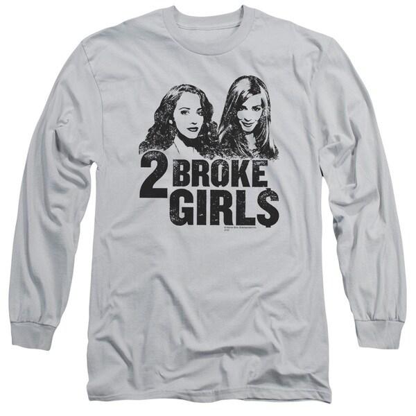 2 Broke Girls/Broke Girls Long Sleeve Adult T-Shirt 18/1 in Silver