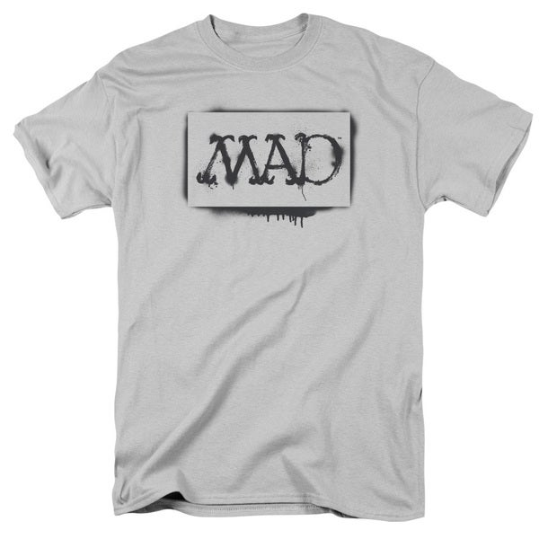 Mad/Stencil Short Sleeve Adult T-Shirt 18/1 in Silver