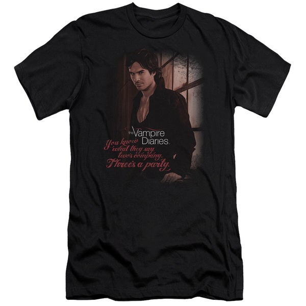 Vampire Diaries/Threes A Party Short Sleeve Adult T-Shirt 30/1 in Black