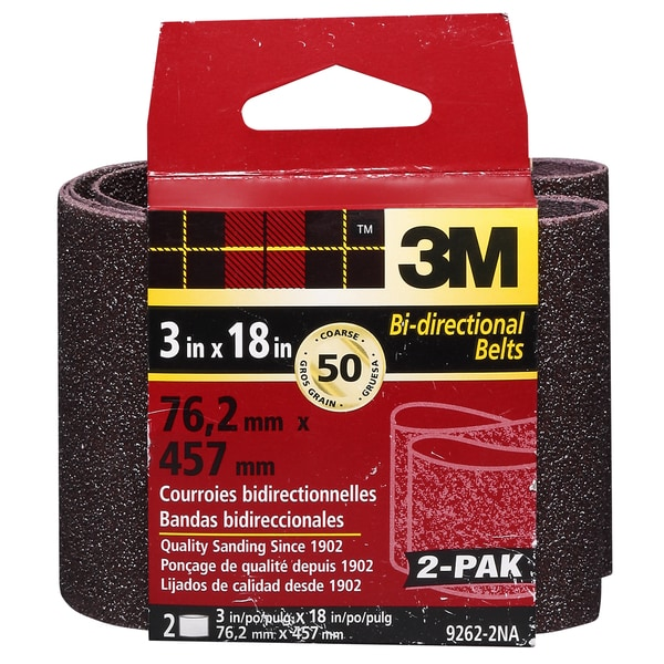 "3M 9262NA-2 2 Pack 3"" X 18"" Coarse Power Sanding Belts"