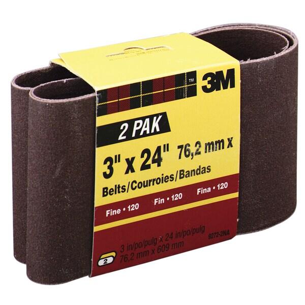 "3M 9272NA-2 2 Pack 3"" X 24"" Fine Power Sanding Belts"