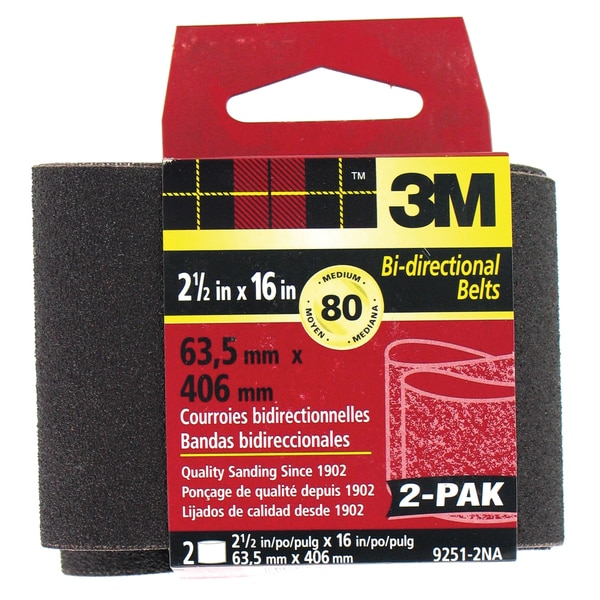 "3M 9251NA-2 2 Pack 2-1/2"" X 16"" Medium Power Sanding Belts"