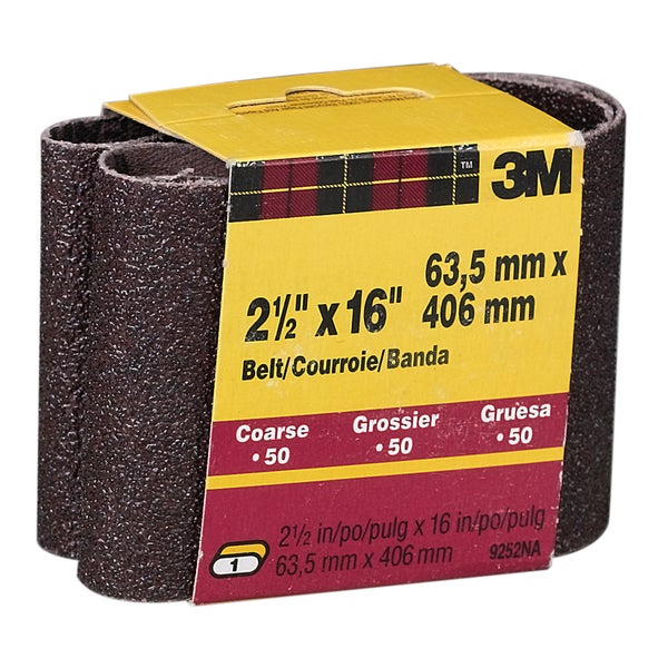 "3M 9252NA-2 2 Pack 2-1/2"" X 16"" Coarse Power Sanding Belts"