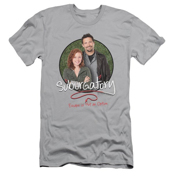Suburgatory/Father & Daughter Short Sleeve Adult T-Shirt 30/1 in Silver