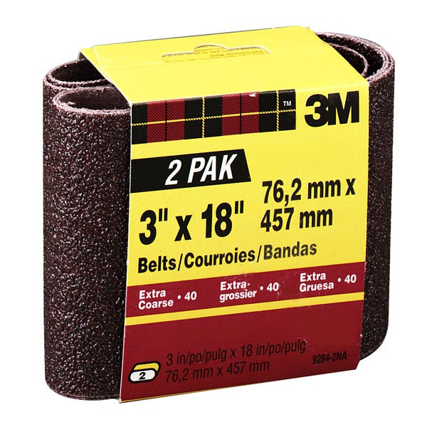 "3M 9284NA-2 2 Pack 3"" X 18"" Extra Coarse Power Sanding Belts"