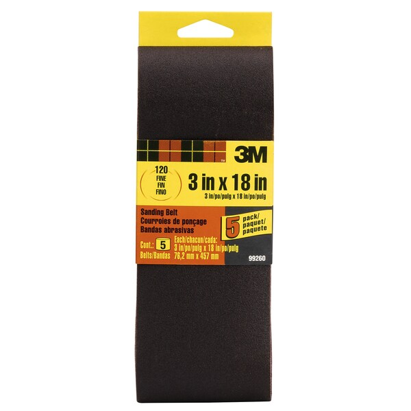 "3M 99260NA 3"" X 18"" 120 Grit Sanding Belt 5-count"