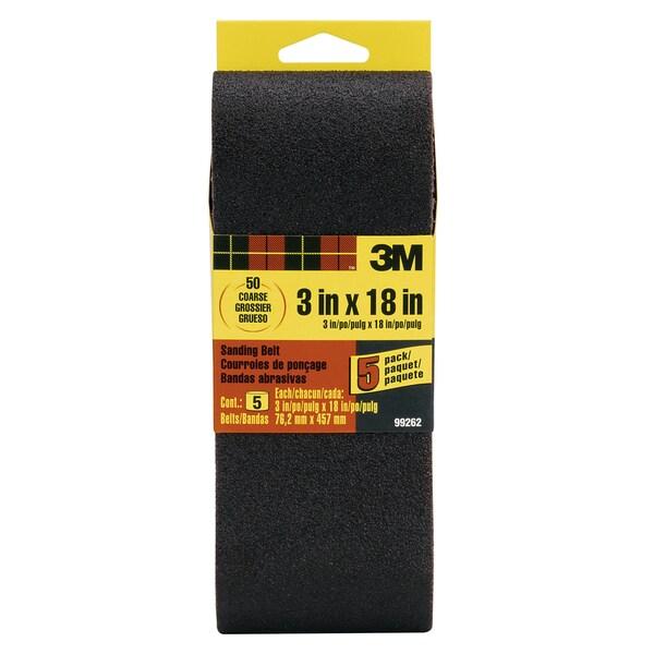 "3M 99262NA 3"" X 18"" 50 Grit Sanding Belt 5-count"