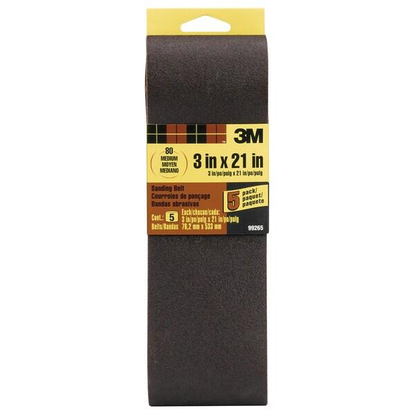 "3M 99265NA 3"" X 21"" 80 Grit Sanding Belt 5-count"