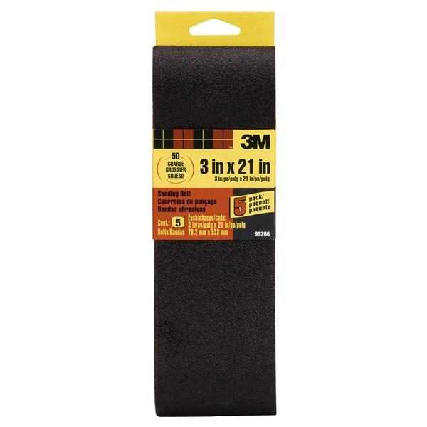 "3M 99266NA 3"" X 21"" 50 Grit Sanding Belt 5-count"