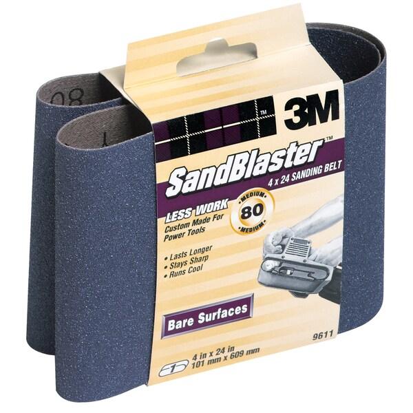 "3M 9611 4"" X 24"" 80 Grit SandBlaster Stripping Sanding Belt"