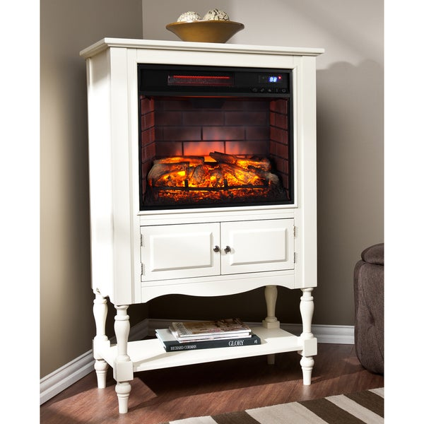 Harper Blvd Leighlin Antique White Infrared Electric Fireplace Tower