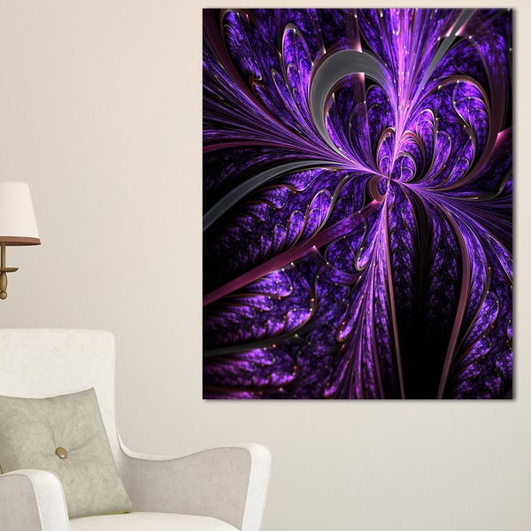Embossed Dark Purple Floral Shapes - Large Floral Wall Art Canvas