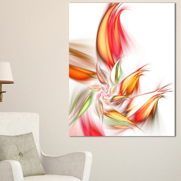 Orange Pink Fractal Floral Shapes - Large Floral Wall Art Canvas