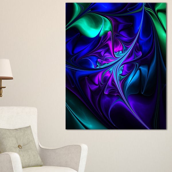 Bright Blue Abstract Floral Shapes - Large Floral Wall Art Canvas