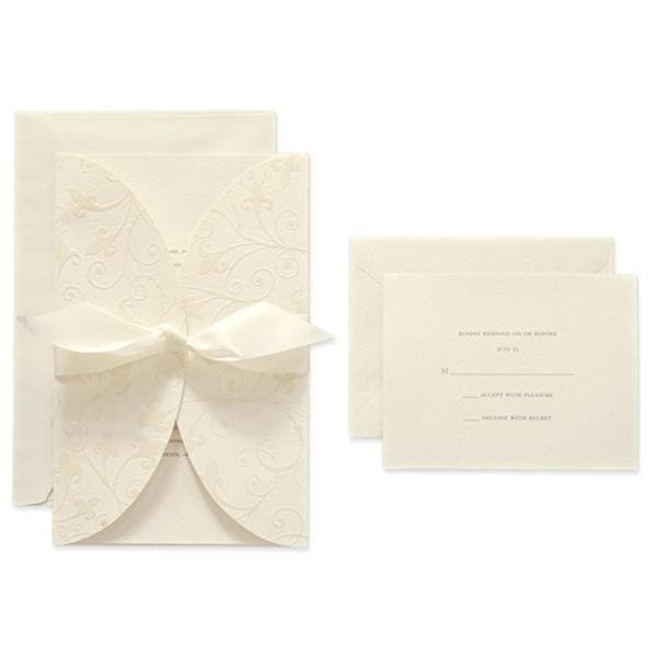Brides Ivory Invite and Flocked Swirl Jacket Kit (40 count)