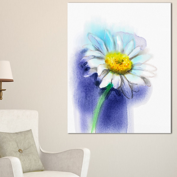 White Gerbera Daisy in Blue - Large Flower Canvas Wall Art