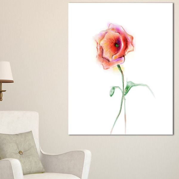 Red Poppy Flower with Green Leaves - Large Flower Canvas Wall Art 20073656