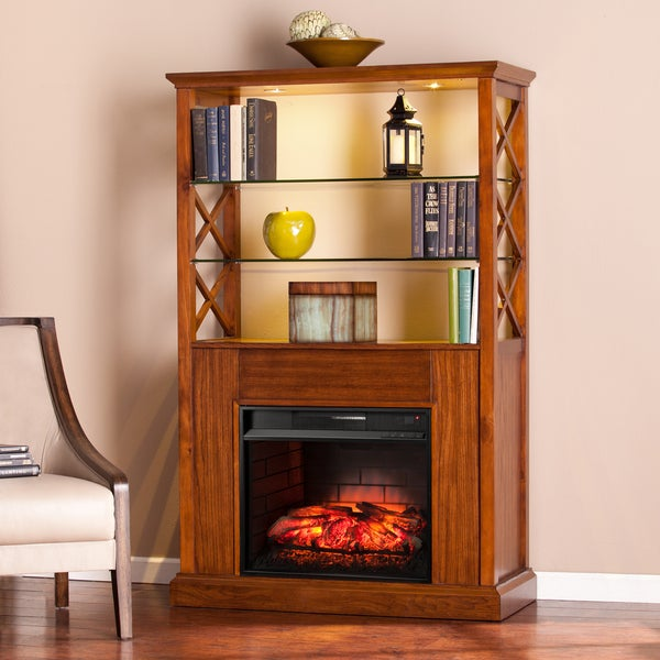 Harper Blvd Carrillo Oak Saddle Infrared Electric Fireplace Curio Tower