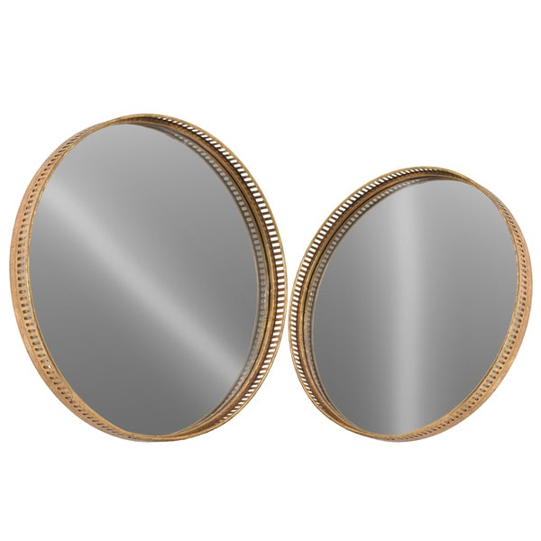 Urban Trends Collection Antique Gold Finish Metal Round Wall Mirror with Elevated Cutout Metal Design Frame (Set of 2)
