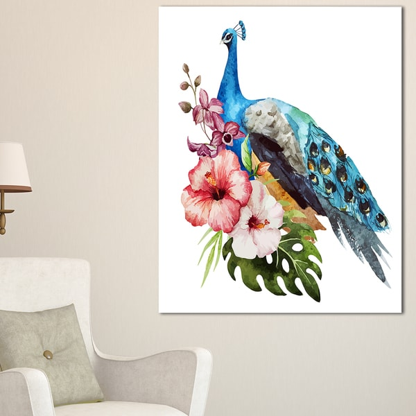 Hibiscus Flowers and Blue Peacock - Large Flower Canvas Wall Art