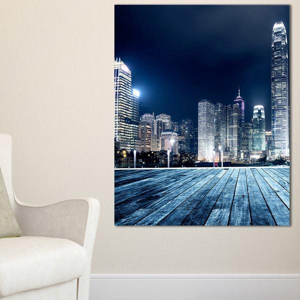 Blue Hong Kong City Skyline - Cityscape Canvas print