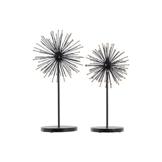 Urban Trends Collection Black Metal Sea Urchin Jewelry Holder With Gold Ends and Round Stand (Set of 2)