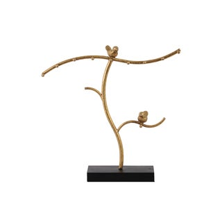 Urban Trends Collection Metallic Gold-finish Metal Tree Jewelry Holder with Birds on Base