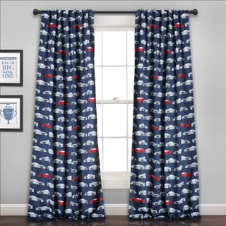 "Lush Decor Race Cars Blue 84-inch Long Room Darkening Curtain Panel Pair - 52""W x 84""L"
