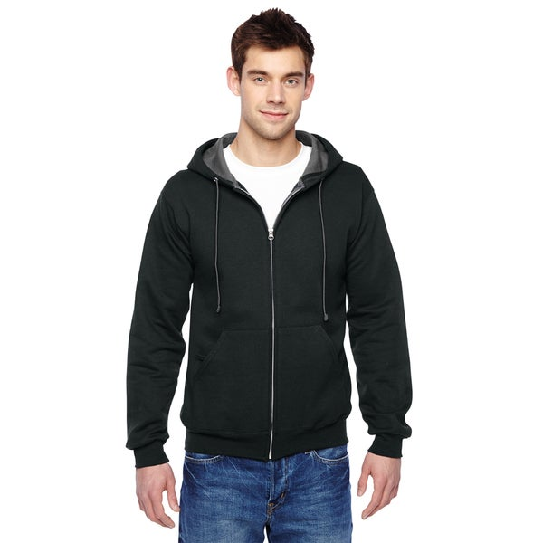 Men's Sofspun Full-Zip Black Hooded Sweatshirt (XL)