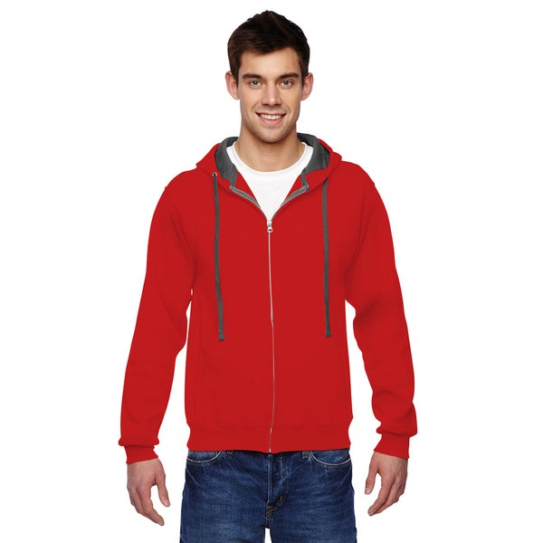 Men's Sofspun Full-Zip Hooded Fiery Red Sweatshirt