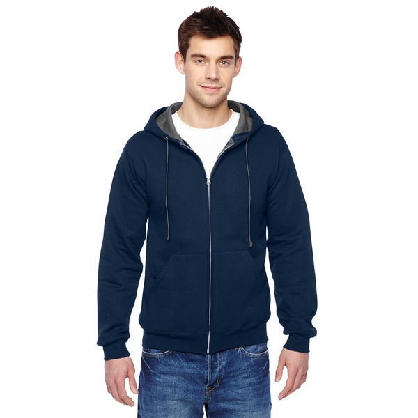 Men's Sofspun Full-Zip Hooded J Navy Sweatshirt