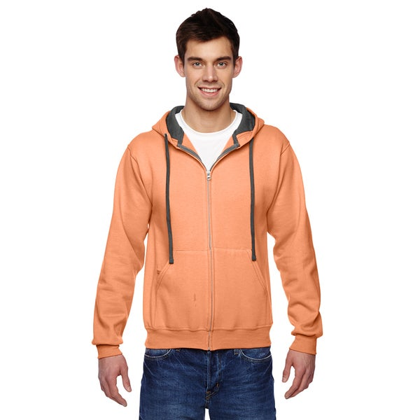 Men's Sofspun Full-Zip Hooded Orange Sherbet Sweatshirt