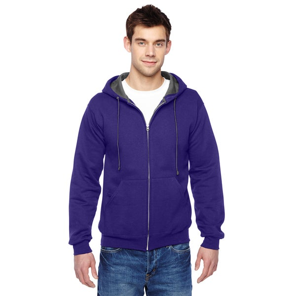 Men's Sofspun Full-Zip Hooded Purple Sweatshirt (XL)