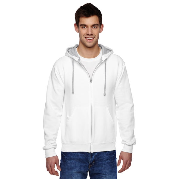 Men's Sofspun Full-Zip Hooded White Sweatshirt