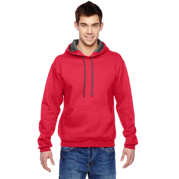 Men's Sofspun Hooded Fiery Red Sweatshirt (XL)