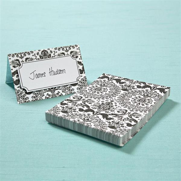 Brides Black and White Damask Place Cards (Pack of 40)