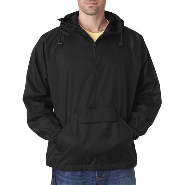 Quarter Zip Men's Hooded Pullover Pack-Away Black Jacket (XL)