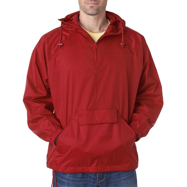 Quarter Zip Men's Red Hooded Pullover Pack-Away Jacket (XL)