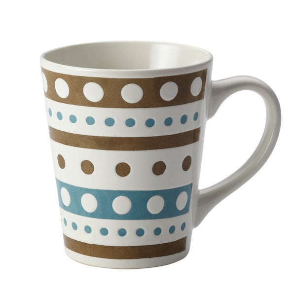 Rachael Ray Cucina Circles and Dots Dinnerware 12-Ounce Stoneware Mug, Agave Blue and Mushroom Brown 20075162