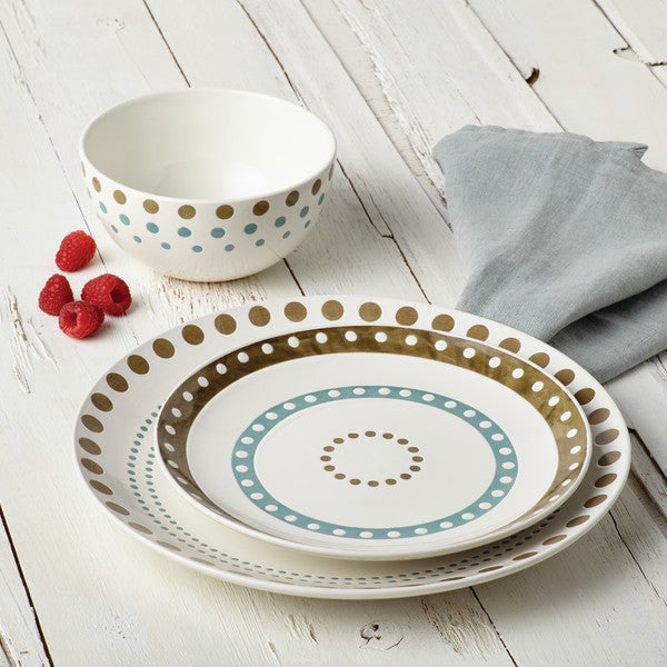 Rachael Ray Cucina Circles and Dots Dinnerware 5-1/2-Inch Stoneware Cereal Bowl, Agave Blue and Mushroom Brown 20075188