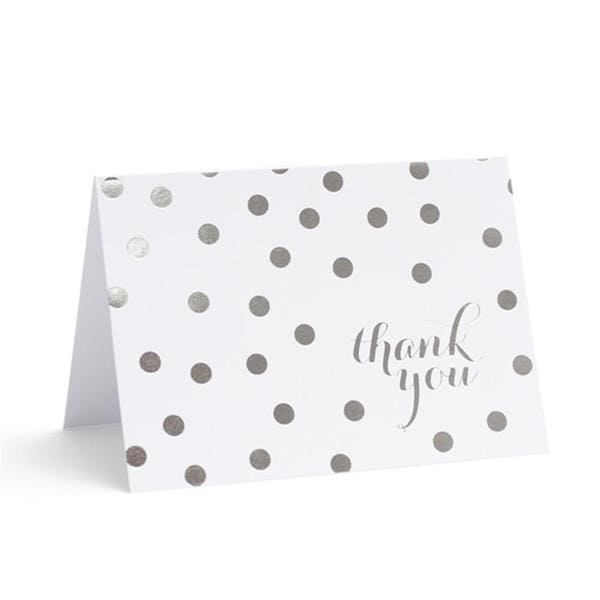 Brides Silver Foil Dots Paper Thank You Cards (40 Count)