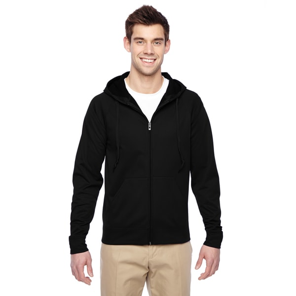 Men's Sport Tech Fleece Full-Zip Black Hood