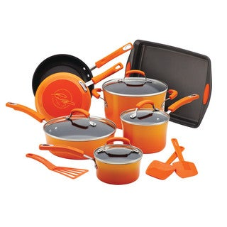 Rachael Ray Porcelain Nonstick 14-Piece Cookware Set with Bakeware and Tools, Gradient Orange