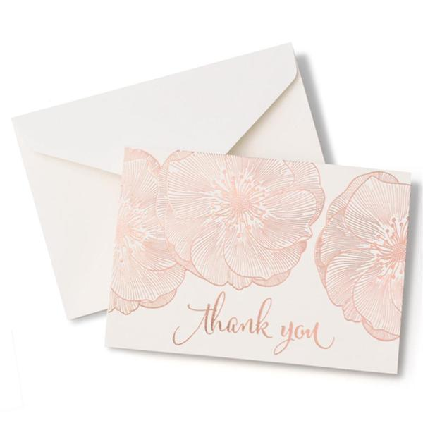 Brides Rose Gold Floral Thank You Card 40 count