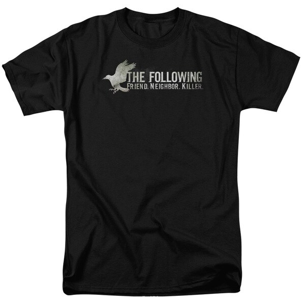 Following/Raven Logo Short Sleeve Adult T-Shirt 18/1 in Black