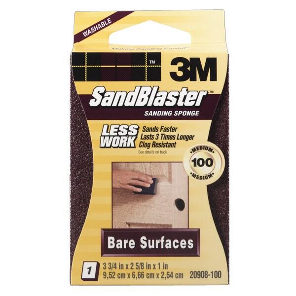 3M 20908-100 100 Grit SandBlaster Bare Surface Sanding Sponge Block